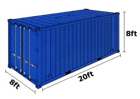 20 ft container size